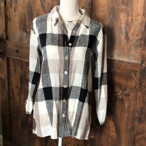 Soft Surroundings Carreaux Plaid Shirt Medium